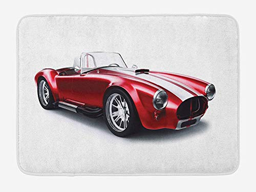 MLNHY Cars Bath Mat, Old-Fashioned Vintage Coupe Car Automobile Illustration with Digital Smooth Color Effects, Plush Bathroom Decor Mat with Non Slip Backing, 23.6 W X 15.7 W Inches, Red Maroon Coupe