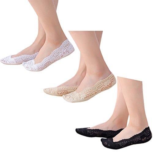 Damen echter Anti-Rutsch mode Füßlinge Schuh-Liner 3 Paar 2 Nude+1 nicht-gerade weiß ohne Innensohlepolster