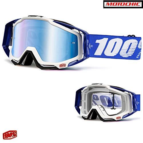 Crossbrille RACECRAFT EXTRA + 20 Abreissfolien von 100% - Anti-Fog - verspiegeltes Glas - Cobalt Blue - Uni Größe