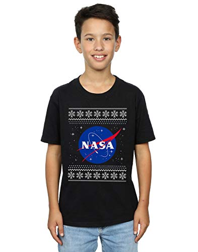 Absolute Cult NASA Niños Classic Fair Isle Camiseta Negro 12-13 Years