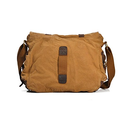 VRIKOO Vintage Military Soft Canvas Crossbody Sports Casual Shoulder Bags Satchel School Messenger Bag (Dark Coffee,XL) Cachi