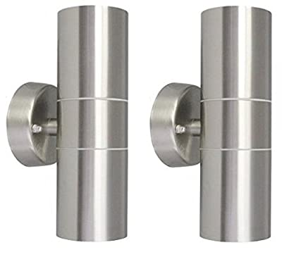 2 X Modern Stainless Steel Up Down Double Wall Spot Light IP65 Outdoor Use - inexpensive UK wall light store.