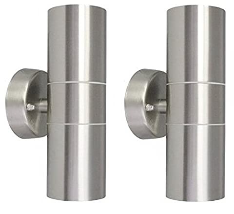 2 X Modern Stainless Steel Up Down Double Wall Spot Light IP65 Outdoor Use ZLC03P2