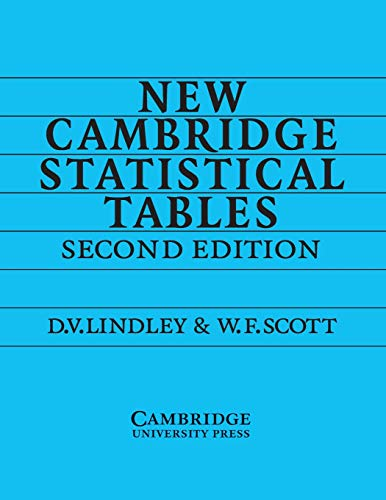 New Cambridge Statistical Tables 2nd Edition Paperback