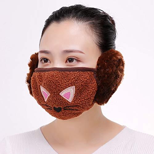 iSpchen Winter Mundmaske mit Ohrenschützer 2 in 1 Cartoon Nette Multifunktionale Warm Windproof Täglichen Gesichtsmaske Ohrwärmer Kinder Erwachsene Braun