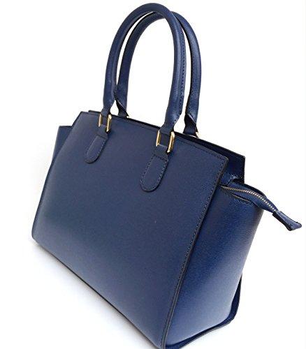 SUPERFLYBAGS Borsa in vera pelle saffiano modello Flavia Made in Italy blu scuro