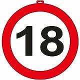 Carpeta - Riesen Verkehrsschild * Zahl 18 * ┃ Ø 47,5cm ┃ Deko 18. Geburtstag ┃ Türschild und Straßenschild ┃ mit & Ohne Aufhänger ✔