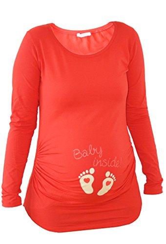 Verkauft von MamiMode Baby Inside - Witzige Süße Umstandsmode T-Shirt mit Motiv Schwangerschaft, Langarm (S, Rot)