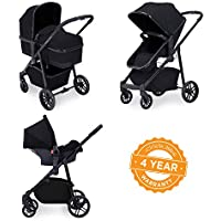 Ickle Bubba Stroller, Baby Travel System | Bundle incl Rear and Forward-Facing Pushchair, Car Seat, Carrycot, Footmuff and Raincover | Moon 3-in-1, Black