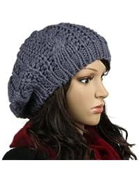 WAWO femmes Beret Baggy Beanie Crochet Tricot Hiver chaud en laine Chapeau Ski Cap - Gris fonce
