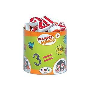 Aladine 85110 Stampominos - Lote de Sellos de Madera y tampón para Decorar, diseño de Cifras