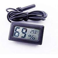 Itian Termómetro Digital Higrómetro Temperatura del Reptil Medidor de Testo y Humedad (Negro)