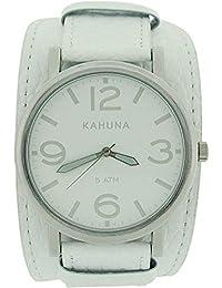Kahuna Gents Analogue White Dial Wide White Leather Cuff Strap Watch KUC-0055G