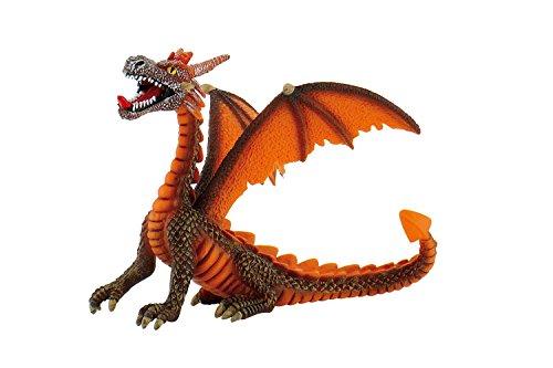 Bullyland 75595 - Spielfigur, Drache sitzend orange, ca. 11 cm