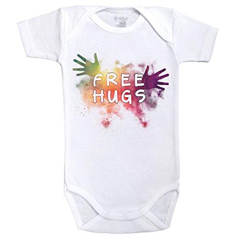 Free Hugs Colors - Body Bambino maniche corte - Cotone - Bianco - Baby Geek - (18 - 24 mesi)