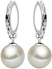 Pendientes de plata - SODIAL(R)pendientes plateados de aro de perla falsa joyeria para mujer