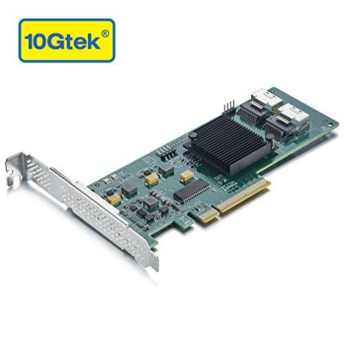 10Gtek® Internal SAS/SATA RAID Controller PCI Express Host Bus Adapter für LSI 9211-8I, LSI SAS2008 Chip, 8-Port 6Gb/s, High Profile & Low Profile, MEHRWEG