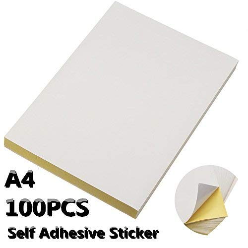 G&K 100 Sheets A4 Adhesive Sticker Paper Glossy Surface Blank Label 210 X 297mm For Laser & Inkjet Printer.