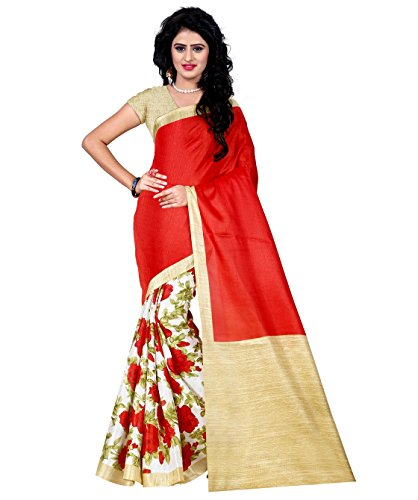 Trendz Printed Cotton Silk Red and Offwhite Saree