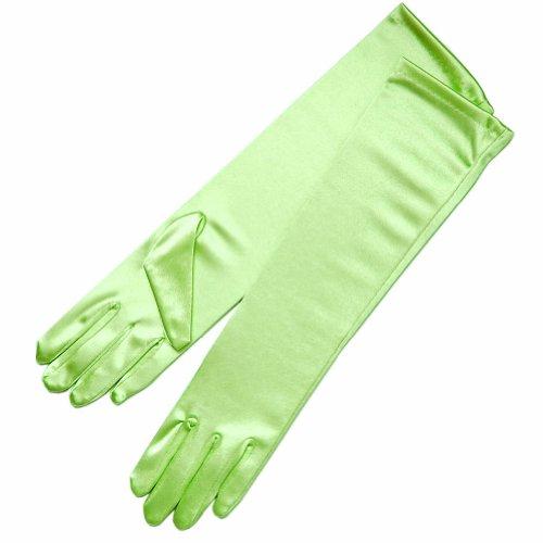 ZaZa Braut-Handschuhe, 39,1 cm lang, glänzend, Stretch, Satin - Grün - Einheitsgröße