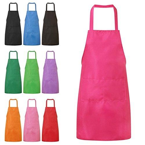 Hmilydyk Kochschürze, Unisex-Modell, Schürze mit praktischer Tasche, Langlebig, Grillen und Backen Hot Pink -