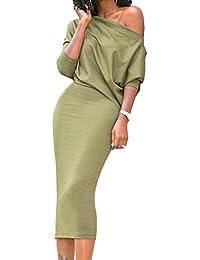 OUFour Autunno Lnvernali Donna Sexy Spalla Nuda Maniche 3 4 Vestito  Eleganti Stretti Cocktail Cerimonia Lunghi Abiti dalla Matita Slim… 19675f50a14