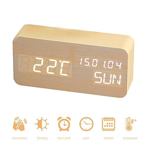AimdonR Holz Wecker/digitale Uhren Für Schlafzimmer Sprachbefehl Neben/ LED  Moderne Hölzerne Cube Clock Mini Wecker /3 Ebenen Helligkeit 3 Alarme  Kleine ...