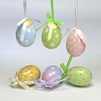 Gisela Graham-Set di 6 decorazioni per albero di Natale a forma di uovo di Pasqua, motivo floreale e a pois, 6 cm