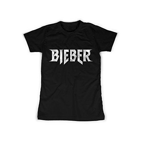 Frauen T-Shirt mit Aufdruck in Schwarz Gr. M Bieber Sänger Teenie Star Design Girl Top Mädchen Shirt Damen Basic 100% Baumwolle Kurzarm