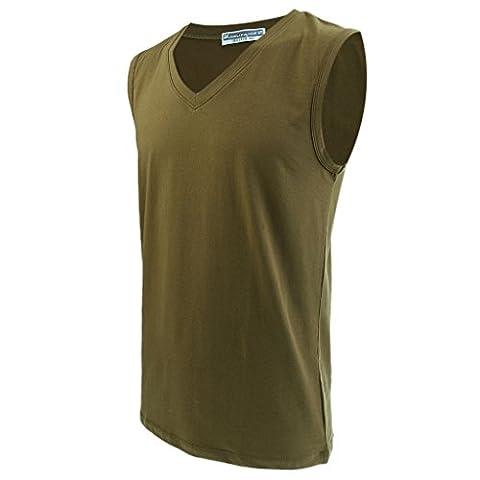 Gazechimp Débardeur Sans Manches Haut Col V Gilet En Coton Sous Vêtement T-Shirt Pour Homme - Vert,