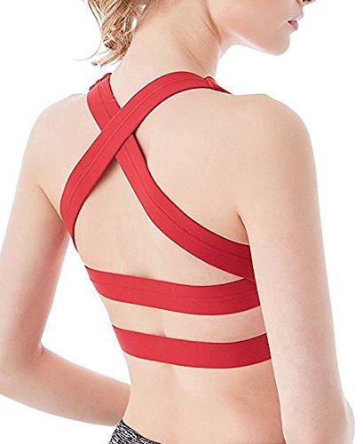 Criss Cross Rücken-unterstützung (YIANNA Damen Sport-BHs mit Soft Gepolstert High Impact Yoga BH ohne Bügel Bustier Yoga Bra Bequem Rot,UK-YA-BRA143-Red-L)