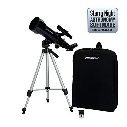 Celestron Travel Scope 70 - Telescopio portable con ampliación de 20x, longitud focal 40 cm, color negro, abertura de 70 mm
