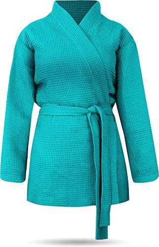 GearUp Kurzer weicher Morgenmantel Kimono für Damen Farbe Türkis Größe XS