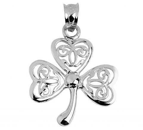 Keltischer Anhänger 925Sterling Silber Damen Irish Celtic Drei Leaf Clover GOOD LUCK Charme