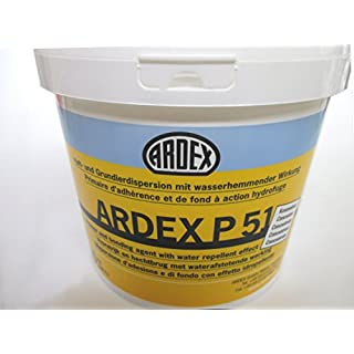 Ardex P51 5kg Adhesive + Base Coat and Ierdispersion Concentrate for Floors, Walls and Ceilings. Firm Primer with Application. Primer, Bridge and Pore Wasserhemmender Verschluss.