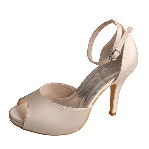 Wedopus MW740 Damen Peep Toe High Heel Plattform Satin Kn?chelriemen Hochzeit Brautschuhe Sandalen Size 39 Elfenbein -
