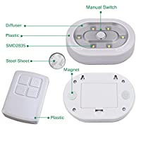 Wireless Remote Control LED Under Cabinet Puck Lights Battery Powered LED Night Lights Controlled with RF Remote- Dimmable and Timer Functions Strong Magnets- 3 Pack Lamps and 1 Remote from ENUOTEK
