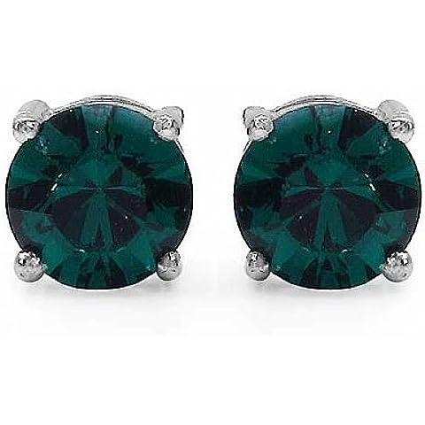 Gioielli Schmidt-Orecchino / orecchini verde smeraldo di zirconia cubica -925 argento-rodio-1, 80 carati