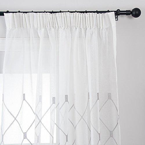 Top Finel Gestickte Kariert Voile Gardinen Kräuselband Vorhang Panels für Wohnzimmer Schlafzimmer,1 piece,300cm x 250cm(W x H),Grau (Ein Panel-grau-vorhänge)