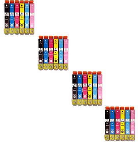 Preisvergleich Produktbild Prestige Cartridge Epson 24XL 24-er Pack Druckerpatronen für Expression Photo XP-55, XP-750, XP-760, XP-850, XP-860, XP-950, schwarz / cyan / magenta / gelb / hell cyan / hell magenta