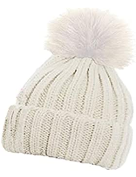 Caldo berretto invernale a coste per bambini, con pompon in finta pelliccia, adatto per lo sci, tinta unita