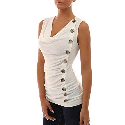VENMO ❀❀ Schlank V-Ausschnitt Knopf T-Shirt Damen Ärmelloses Tops Hemd Bluse Tee Weiß