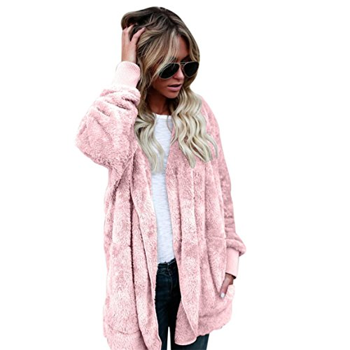 Mantel Heiße Rosa (Moonuy Damen Pullover Strickjacke, Herbst/Winter Heißer Verkauf Frauen mit Kapuze Langen Mantel Jacke Hoodies Parka Outwear Strickjacke Kunstpelz Mantel (XL, Rosa))