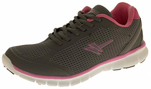 Womens GOLA ACTIVE Fitness Scarpe da ginnastica per esercizi, taglia: 3, 4, 5, 6, 7, 8 Grigio (Grey & Pink)