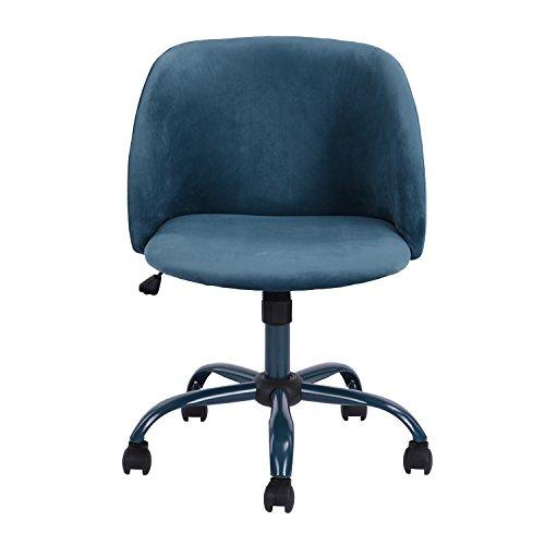 innovareds Bürostuhl Drehstuhl Schreibtischstuhl Samt höhenverstellbar Esszimmerstuhl/Bürostuhl mit Rückseite/Arm Support–Blau (Arm-drehstuhl)