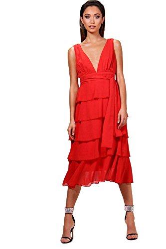 YourPrimeOutlet Womens Elizabeth Plunge Ruffle Midi Dress