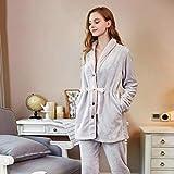 Morgenmäntel Damen Robe, super weiche Flauschige kuschelige Baumwolle, Flanell Pyjamas verdicken im Winter große Revers offen Anzug, Gray,XXL
