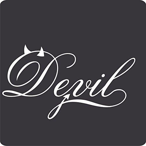 Kleb-Drauf - 1 Devil - Aufkleber zur Dekoration von Autos, Motorrädern, Fahrrädern und allen anderen Fahrzeugen; aus 14 Farben wählbar; Silber