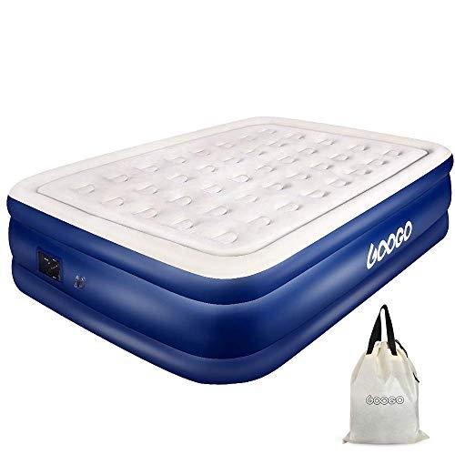 OUTON GOOGO Luftbett Tragbare Luftmatratze mit eingebauter Elektropumpe Selbstaufblasendes Luftbett Langlebig mit Aufbewahrungstasche(Queen Size)