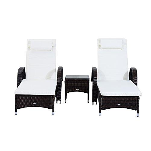 Outsunny set mobili da giardino relax 2 sedie a sdraio e tavolino 3pz rattan marrone lettino prendisole reclinabile con rotelle rattan marrone